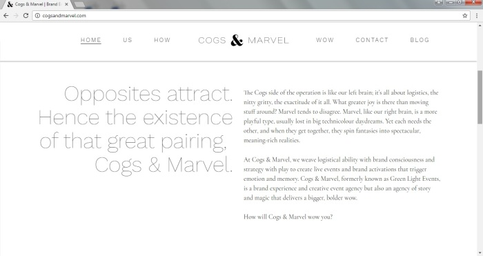 Home page copy
